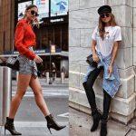 2019 Sokak Modası Trendleri Siyah Kısa Piti Kareli Etek Kırmızı Gömlek