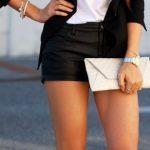 2018 Moda Trend Siyah Kısa Şort Beyaz Bluz Siyah Ceket