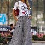 2019 Sokak Modası Trendleri Siyah Çizgili Bol Pantolon Beyaz Kısa Kollu Tişört