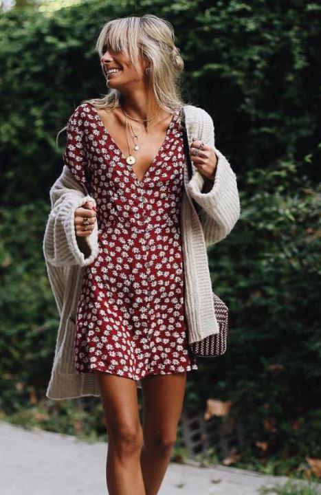 2018 Moda Trend Tarçın Kısa V Yakalı Çiçek Desenli Elbise Kahverengi Salaş Hırka