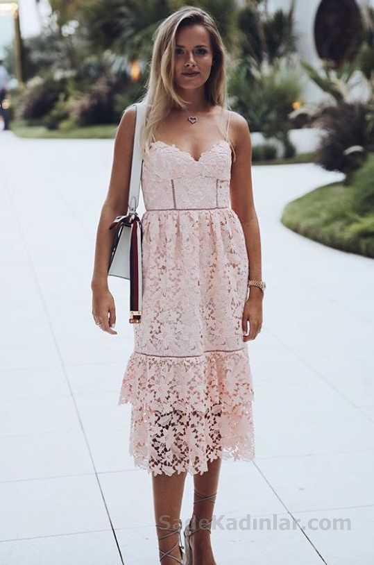 2018 Yaz Modası Pudra Uzun Askılı Güpür Dantel Elbise