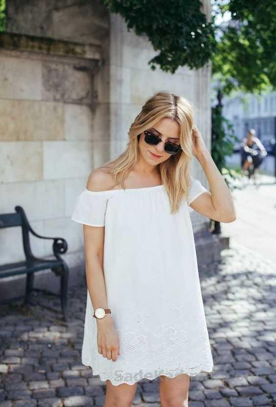 2020 Yazlık Elbise Modelleri Beyaz Kısa Straplez Düşük Kollu Etekleri İşlemeli Elbise