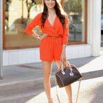 2020 Yazlık Elbise Modelleri Turuncu Kısa Şortlu Tulum V Yakalı Uzun Kollu