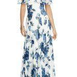 2020 Yazlık Çiçekli Şifon Elbise Modelleri Beyaz Uzun Straplez Çiçek Desenli