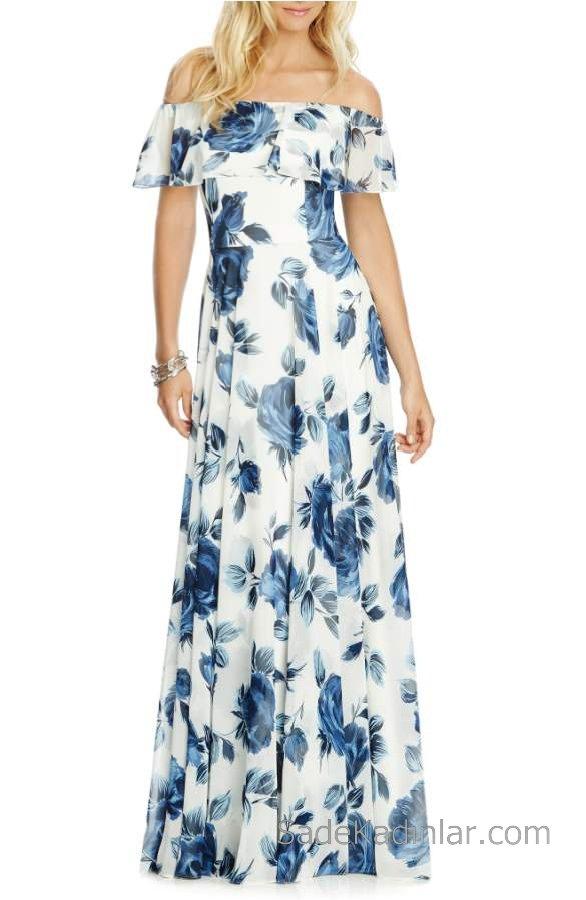 04f12dc6608e9 2019 Yazlık Çiçekli Şifon Elbise Modelleri Beyaz Uzun Straplez Çiçek Desenli