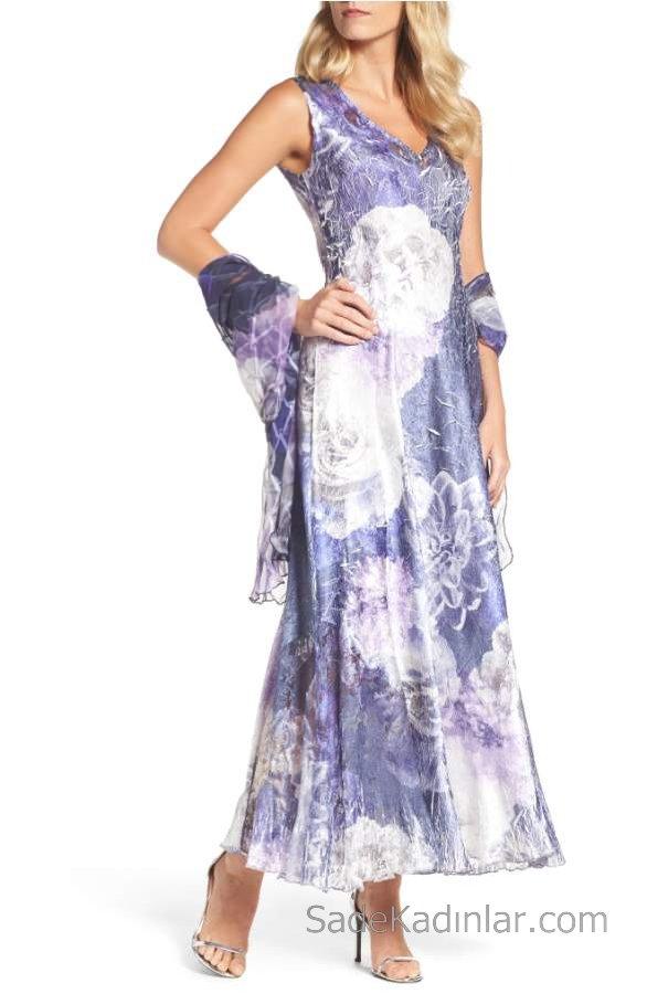 2019 Yazlık Çiçekli Şifon Elbise Modelleri Eflatun Uzun V Yakalı Desenli