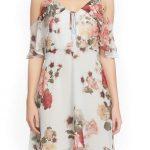 2020 Yazlık Çiçekli Şifon Elbise Modelleri Krem Kısa Askılı Omzu Açık Fırfırlı