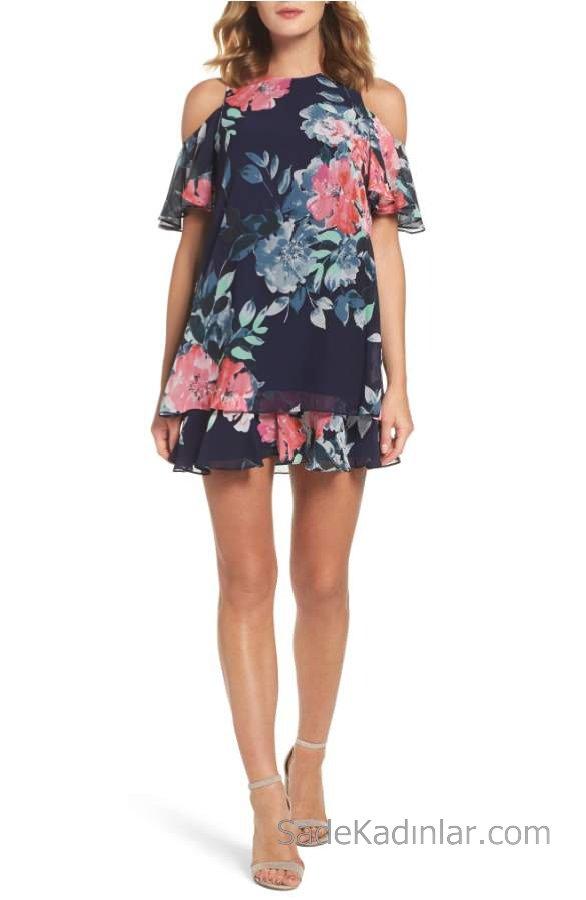 2018 Yazlık Çiçekli Şifon Elbise Modelleri Lacivert Kısa Omuzlar Açık Düşük Kol Desenli