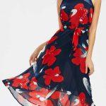 2020 Yazlık Çiçekli Şifon Elbise Modelleri Lacivert Uzun kolsuz Belden Kuşaklı