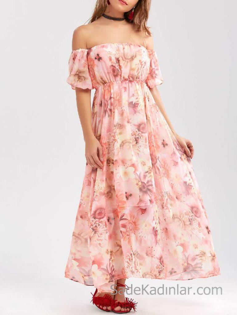 2018 Yazlık Çiçekli Şifon Elbise Modelleri Pembe Uzun Straplez Düşük Kol Çiçekli