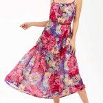 2020 Yazlık Çiçekli Şifon Elbise Modelleri Pembe Uzun İp Askılı Desenli Kemerli