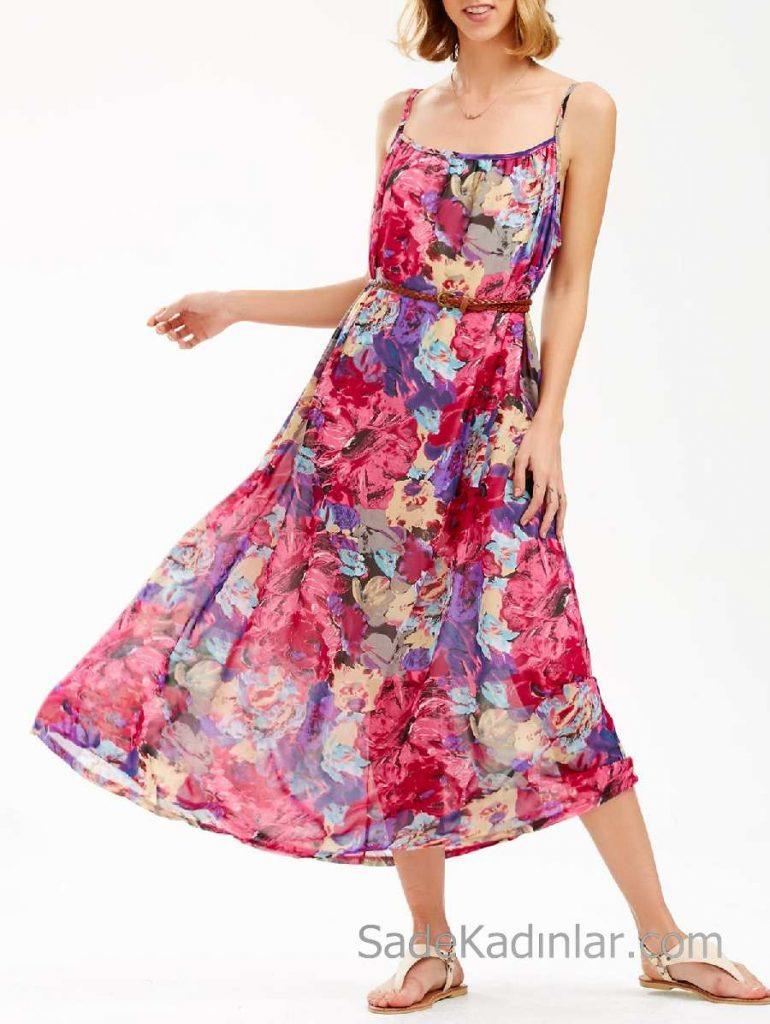 2018 Yazlık Çiçekli Şifon Elbise Modelleri Pembe Uzun İp Askılı Desenli Kemerli