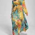 2020 Yazlık Çiçekli Şifon Elbise Modelleri Sarı Uzun Çiçek Desenli