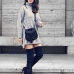 Bayanlar İçin Günlük Kış Kombinleri Gri Kısa Triko Boğazlı Elbise