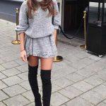 Bayanlar İçin Günlük Kış Kombinleri Gri Kısa Örgü Boğazlı Belden Kemerli Salaş Elbise