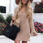 Bayanlar İçin Günlük Kış Kombinleri Kahverengi Kısa Triko V Yakalı İspanyol Kol Elbise