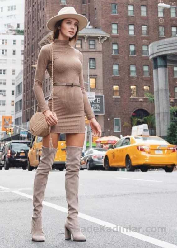 Bayanlar İçin Günlük Kış Kombinleri Kahverengi Kısa Yarım Balıkçı Kemerli Elbise