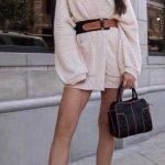 Bayanlar İçin Günlük Kış Kombinleri Krem Kısa örgü V Yakalı Büyük Cepli Kemer Detaylı Elbise