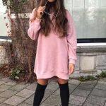 Bayanlar İçin Günlük Kış Kombinleri Pembe Kısa Sade Salaş Elbise