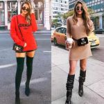 Bayanlar İçin Günlük Kış Kombinleri Siyah Kısa Şort Kırmızı Önü Yazılı Swet