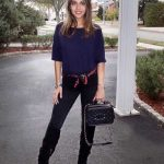 Bayanlar İçin Günlük Kış Kombinleri Siyah Pantolon Lacivert Kısa Kollu Bluz