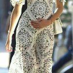 Hamile Kıyafetleri Beyaz Uzun Askılı Düşük Kol Deseni Elbise