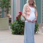 Hamile Kıyafetleri Beyaz Uzun Çizgili Etek Bluz Somon Ceket