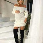 Hamile Kıyafetleri Krem Kısa Straplez Triko Elbise