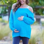 Hamile Kıyafetleri Lacivert Pantolon Mavi Askılı Kazak