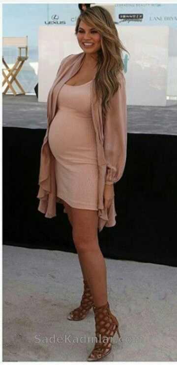 Hamile Kıyafetleri Somon Kısa Askılı Elbise Dökümlü Hırka