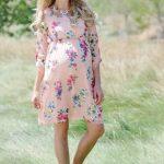 Hamile Kıyafetleri Somon Kısa Çiçek Desenli Elbise