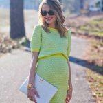 Hamile Kıyafetleri Yeşil Kısa Desenli Kısa Kollu Triko Elbise