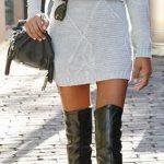 Triko Elbise Modelleri Bej Kısa Boğazlı Örnekli