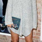 Triko Elbise Modelleri Gri Kısa Boğazlı Salaş