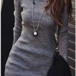 Triko Elbise Modelleri Gri Kısa Kare Yakalı Uzun Kollu