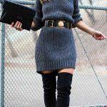 Triko Elbise Modelleri Gri Kısa Yuvarlak Yaka Yarım Kollu Belden Kemerli