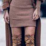 Triko Elbise Modelleri Kahverengi Kısa Uzun Yırtmaçlı Kol Kahve Kaşe Kaban