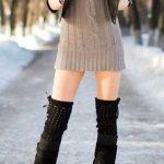 Triko Elbise Modelleri Vizon Kısa Boğazlı Siyah Deri Ceket