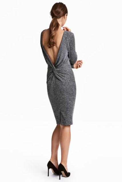 2018 Gece Elbiseleri Gri Dizaltı Uzun Kollu Sırt Dekolteli H&M 179 tl