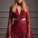 2018 Gece Elbiseleri Kırmızı Kısa V Yakalı Uzun Kollu Dantelli Raisa&Vanessa for Trendyol 499 tl