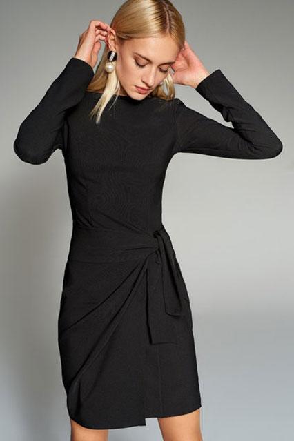 2018 Gece Elbiseleri Siyah Kısa Uzun Kollu Yandan Bağlamalı Trendyolmilla 89.90 tl