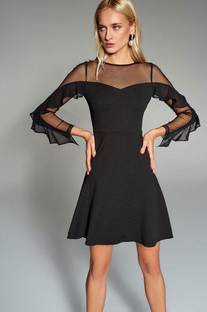 2018 Gece Elbiseleri Siyah Kısa Yaka ve Kol Transparan Tüllü Trendyolmilla 80 tl