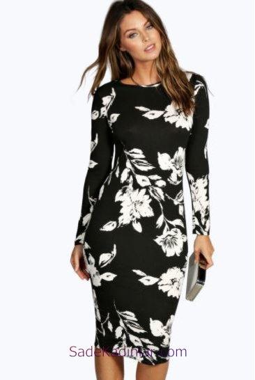 2018 Günlük Elbise Modelleri Siyah Dizboyu Çiçek Desenli Uzun Kollu Yazlık Elbiseler