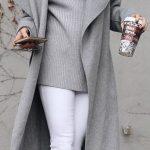 2018 Pantolon Kombinleri Beyaz Pantolon Gri Boğazlı Kazak Gri Geniş Yaka Mont