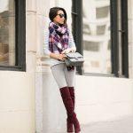 2018 Pantolon Kombinleri Gri Pantolon Gri Beyaz Çizgili Bluz Renkli Şal