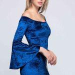 Abiye Saks Mavi Kadife Elbise Kısa Omuzları Açık Kolları İspanyol