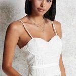 Büstiyer Bluz Modelleri Beyaz Askılı Dantelli