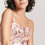 Büstiyer Bluz Modelleri Somon Askılı Önden Fermuarlı Desenli