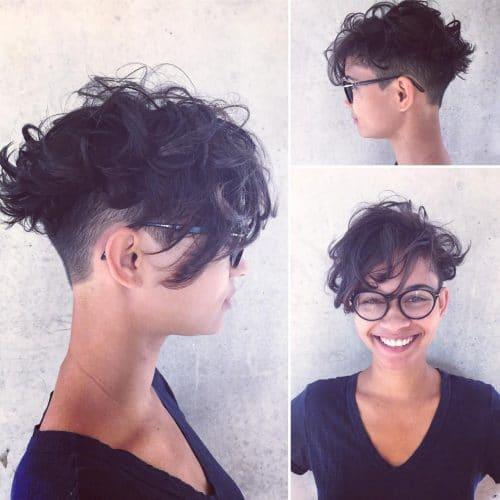 Kısa Saç Modelleri kısa dalgalı saç kesimleri textured curly pixie