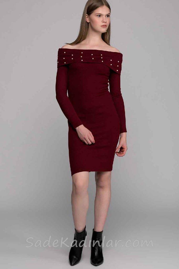 Kışlık Elbise Modelleri Bordo Kısa Omzu Açık Yakası İncili